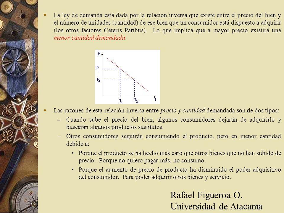 La ley de demanda está dada por la relación inversa que existe entre el precio del bien y el número de unidades (cantidad) de ese bien que un consumid