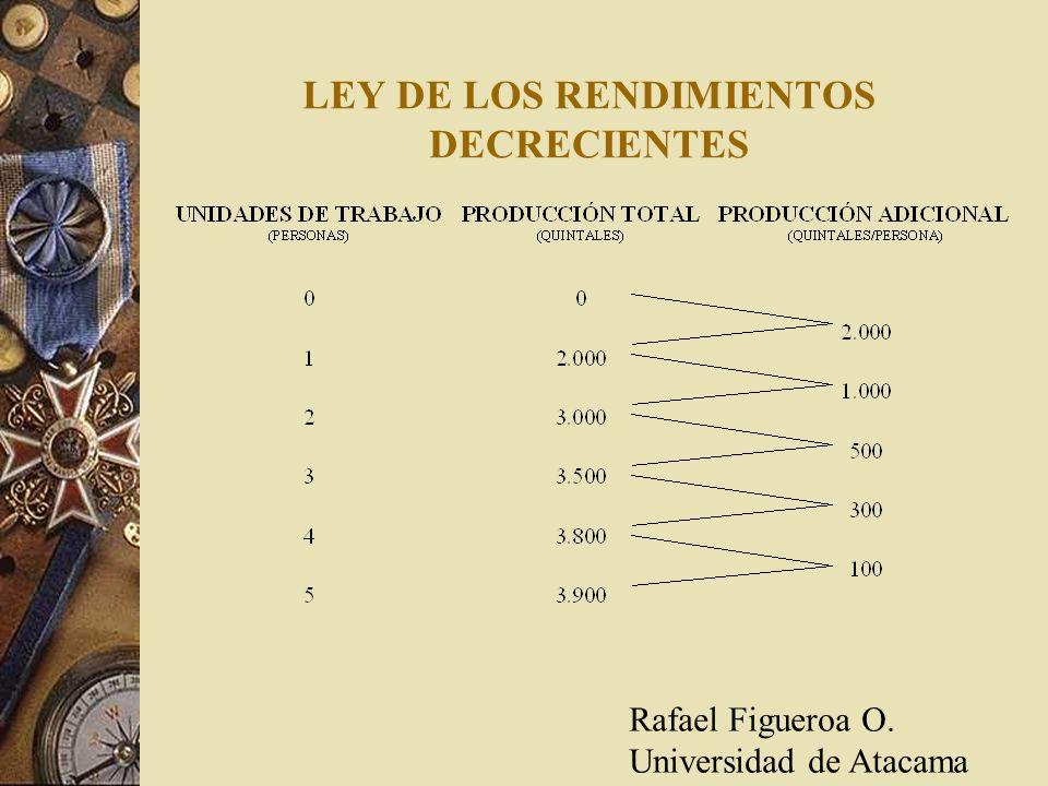 LEY DE LOS RENDIMIENTOS DECRECIENTES Rafael Figueroa O. Universidad de Atacama