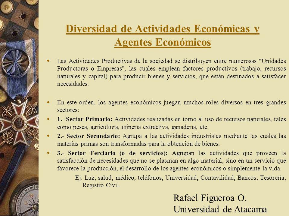 Diversidad de Actividades Económicas y Agentes Económicos Las Actividades Productivas de la sociedad se distribuyen entre numerosas