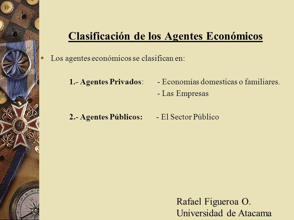 Clasificación de los Agentes Económicos Los agentes económicos se clasifican en: 1.- Agentes Privados: - Economías domesticas o familiares. - Las Empr