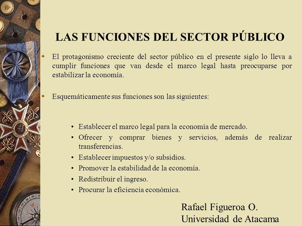 LAS FUNCIONES DEL SECTOR PÚBLICO El protagonismo creciente del sector público en el presente siglo lo lleva a cumplir funciones que van desde el marco