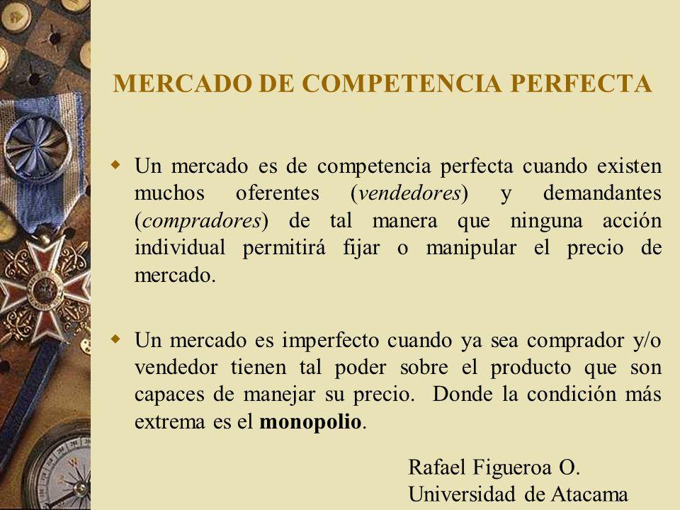 MERCADO DE COMPETENCIA PERFECTA Un mercado es de competencia perfecta cuando existen muchos oferentes (vendedores) y demandantes (compradores) de tal