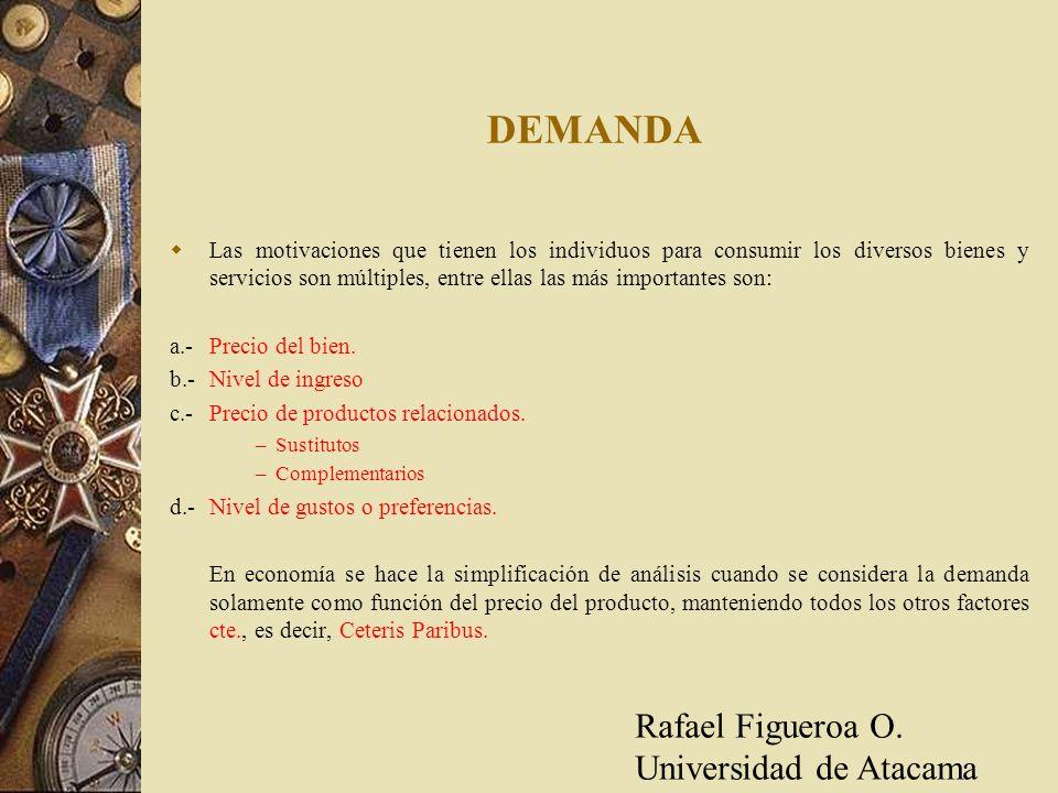 Casos especiales 1.-Demanda perfectamente Inelástica: (Ep = 0) 2.- Demanda perfectamente Elástica: (Ep = ) q = 0 p = 0 Rafael Figueroa O.