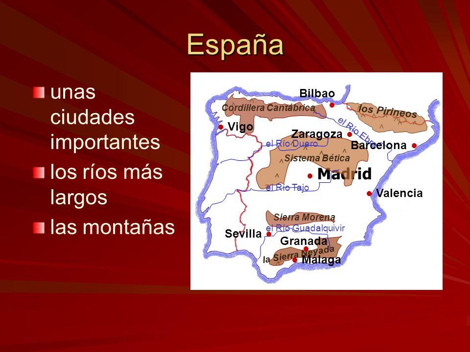 España las montañas ––l––los Pirineos ––l––la Cordillera Cantábrica ––e––el Sistema Bético ––l––la Sierra Morena ––l––la Sierra Nevada Madrid