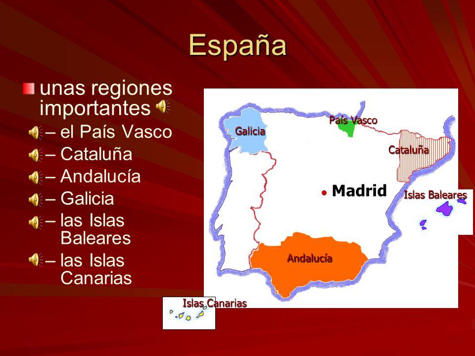 España unas ciudades importantes los ríos más largos las montañas Madrid los Pirineos la Sierra Nevada Sevilla Barcelona Málaga Valencia Zaragoza Vigo
