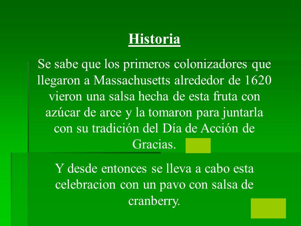 Historia Se sabe que los primeros colonizadores que llegaron a Massachusetts alrededor de 1620 vieron una salsa hecha de esta fruta con azúcar de arce