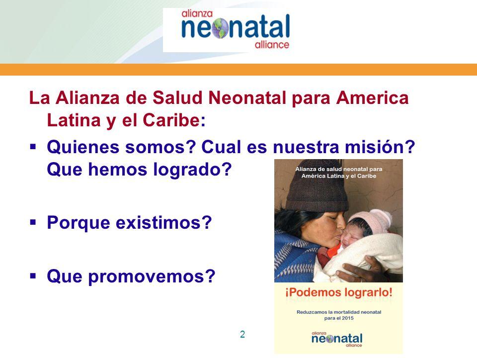 2 La Alianza de Salud Neonatal para America Latina y el Caribe: Quienes somos? Cual es nuestra misión? Que hemos logrado? Porque existimos? Que promov