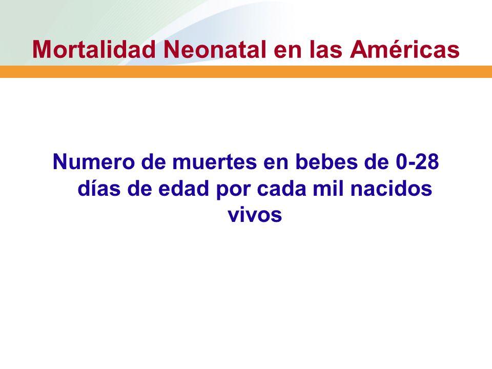 Mortalidad Neonatal en las Américas Numero de muertes en bebes de 0-28 días de edad por cada mil nacidos vivos