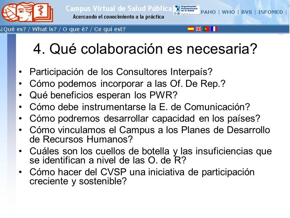conectarse >> 4. Qué colaboración es necesaria. Participación de los Consultores Interpaís.