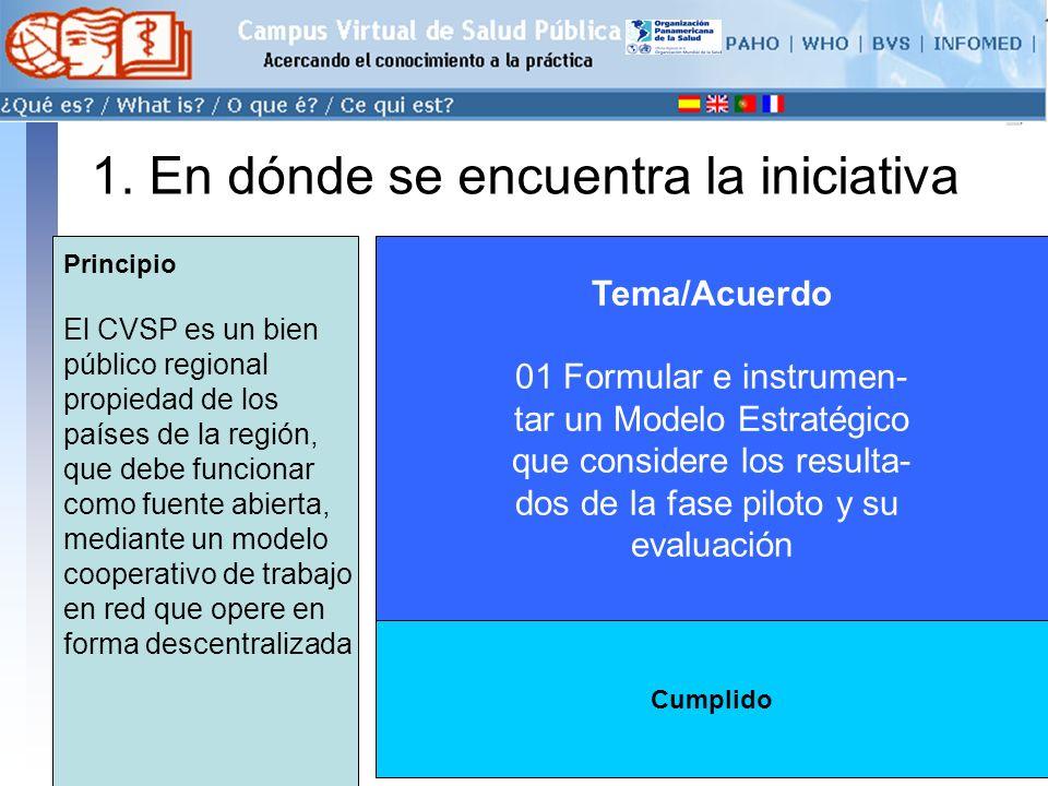 conectarse >> 1. En dónde se encuentra la iniciativa Tema/Acuerdo 01 Formular e instrumen- tar un Modelo Estratégico que considere los resulta- dos de