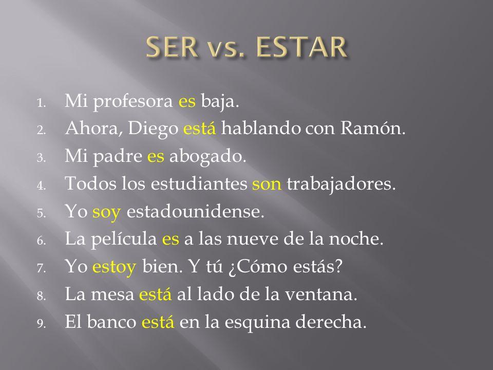 1. Mi profesora es baja. 2. Ahora, Diego está hablando con Ramón. 3. Mi padre es abogado. 4. Todos los estudiantes son trabajadores. 5. Yo soy estadou