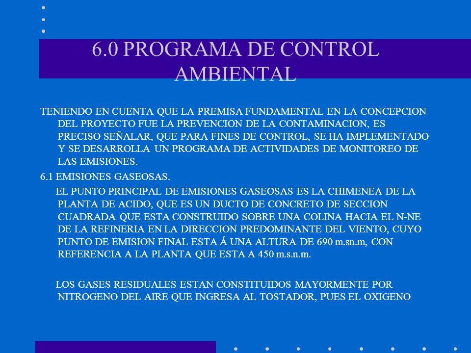 6.0 PROGRAMA DE CONTROL AMBIENTAL TENIENDO EN CUENTA QUE LA PREMISA FUNDAMENTAL EN LA CONCEPCION DEL PROYECTO FUE LA PREVENCION DE LA CONTAMINACION, E