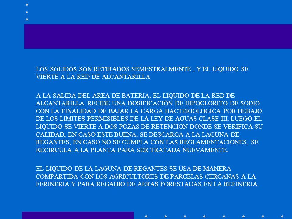 LOS SOLIDOS SON RETIRADOS SEMESTRALMENTE, Y EL LIQUIDO SE VIERTE A LA RED DE ALCANTARILLA A LA SALIDA DEL AREA DE BATERIA, EL LIQUIDO DE LA RED DE ALC