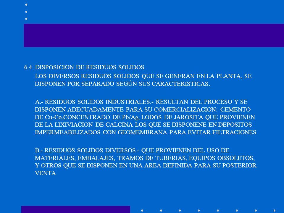 6.4 DISPOSICION DE RESIDUOS SOLIDOS LOS DIVERSOS RESIDUOS SOLIDOS QUE SE GENERAN EN LA PLANTA, SE DISPONEN POR SEPARADO SEGÚN SUS CARACTERISTICAS. A.-