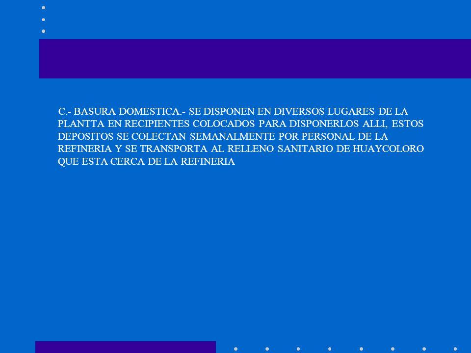 C.- BASURA DOMESTICA.- SE DISPONEN EN DIVERSOS LUGARES DE LA PLANTTA EN RECIPIENTES COLOCADOS PARA DISPONERLOS ALLI, ESTOS DEPOSITOS SE COLECTAN SEMAN
