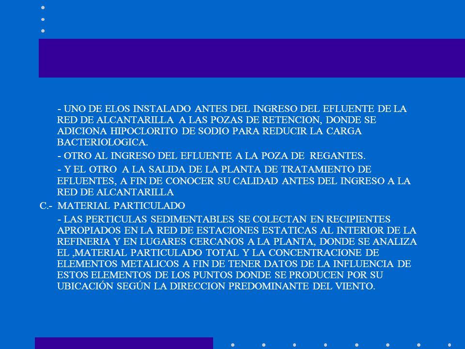 - UNO DE ELOS INSTALADO ANTES DEL INGRESO DEL EFLUENTE DE LA RED DE ALCANTARILLA A LAS POZAS DE RETENCION, DONDE SE ADICIONA HIPOCLORITO DE SODIO PARA