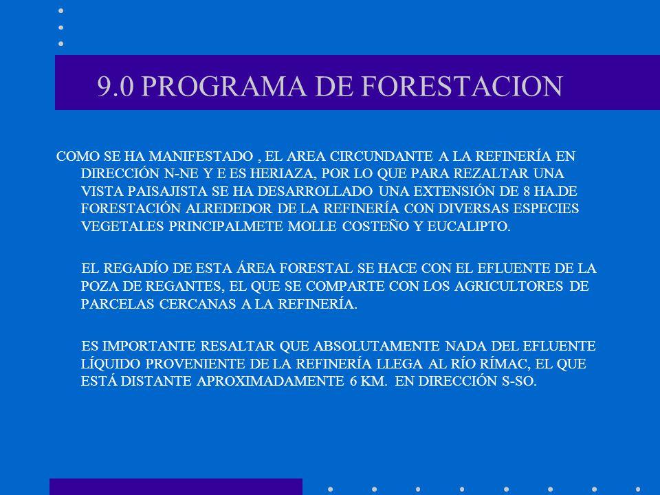 9.0 PROGRAMA DE FORESTACION COMO SE HA MANIFESTADO, EL AREA CIRCUNDANTE A LA REFINERÍA EN DIRECCIÓN N-NE Y E ES HERIAZA, POR LO QUE PARA REZALTAR UNA