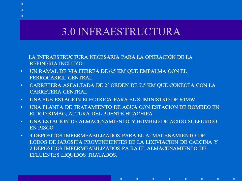 3.0 INFRAESTRUCTURA LA INFRAESTRUCTURA NECESARIA PARA LA OPERACIÓN DE LA REFINERIA INCLUYO: UN RAMAL DE VIA FERREA DE 6.5 KM QUE EMPALMA CON EL FERROC