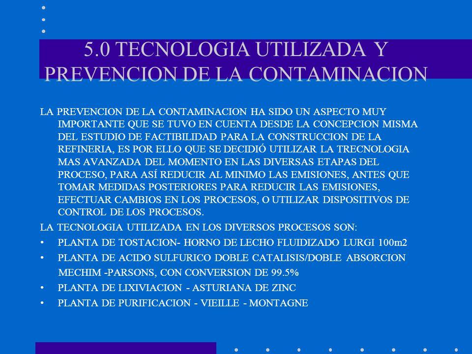 5.0 TECNOLOGIA UTILIZADA Y PREVENCION DE LA CONTAMINACION LA PREVENCION DE LA CONTAMINACION HA SIDO UN ASPECTO MUY IMPORTANTE QUE SE TUVO EN CUENTA DE
