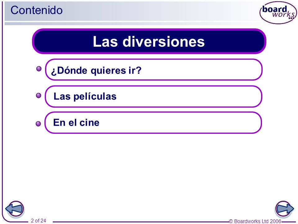 © Boardworks Ltd 2006 2 of 24 Las diversiones Contenido Las películas ¿Dónde quieres ir? En el cine
