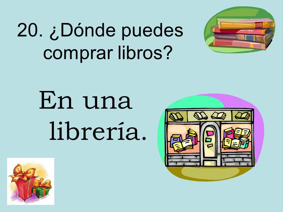 20. ¿Dónde puedes comprar libros? En una librería.