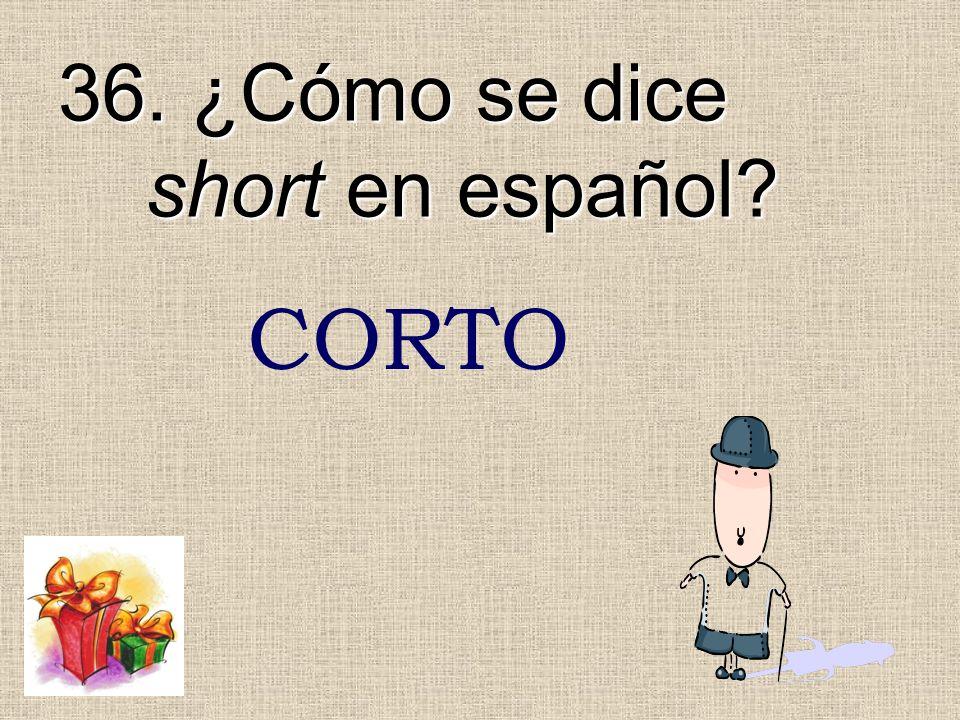 36. ¿Cómo se dice short en español? CORTO