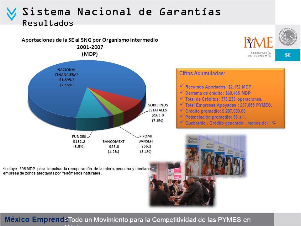 México Emprende >Todo un Movimiento para la Competitividad de las PYMES en México Sistema Nacional de Garantías Resultados Cifras Acumuladas: Recursos