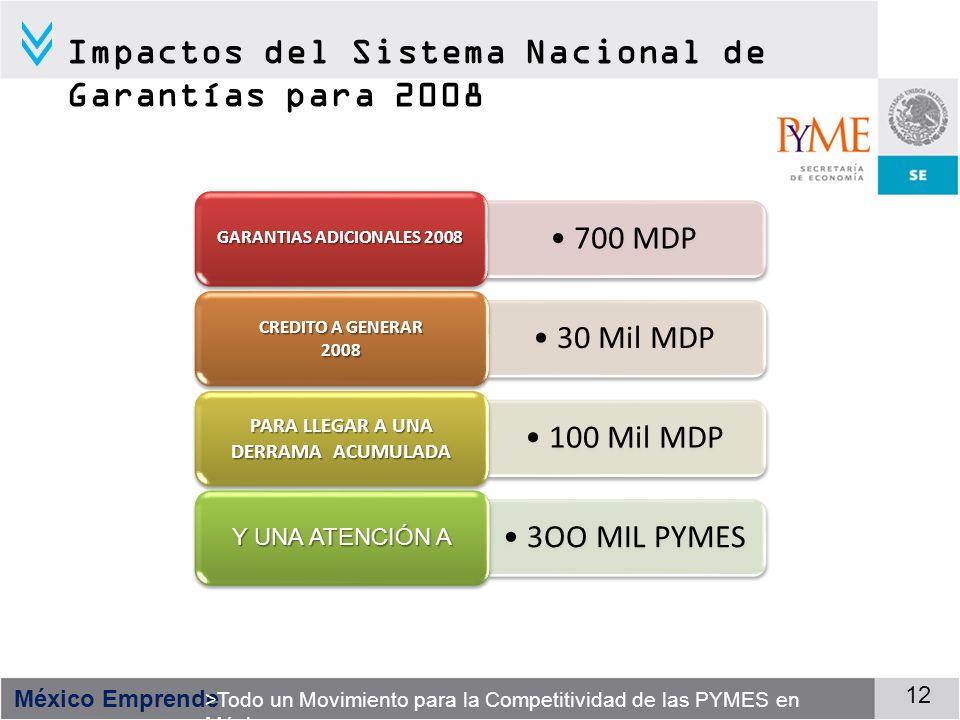 México Emprende >Todo un Movimiento para la Competitividad de las PYMES en México 12 700 MDP GARANTIAS ADICIONALES 2008 30 Mil MDP CREDITO A GENERAR 2