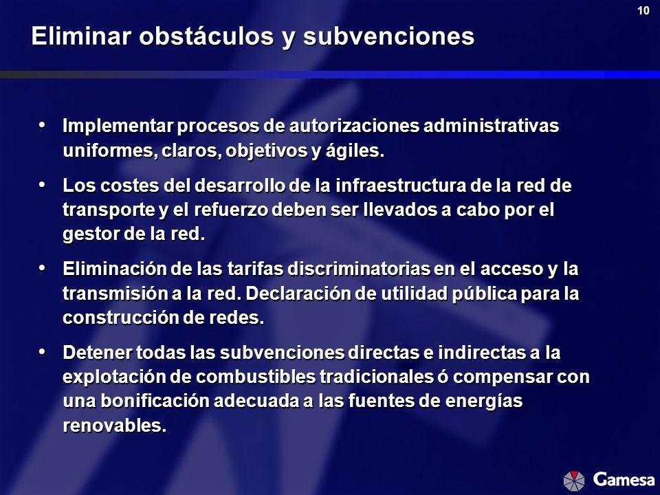 10 Eliminar obstáculos y subvenciones Implementar procesos de autorizaciones administrativas uniformes, claros, objetivos y ágiles. Implementar proces