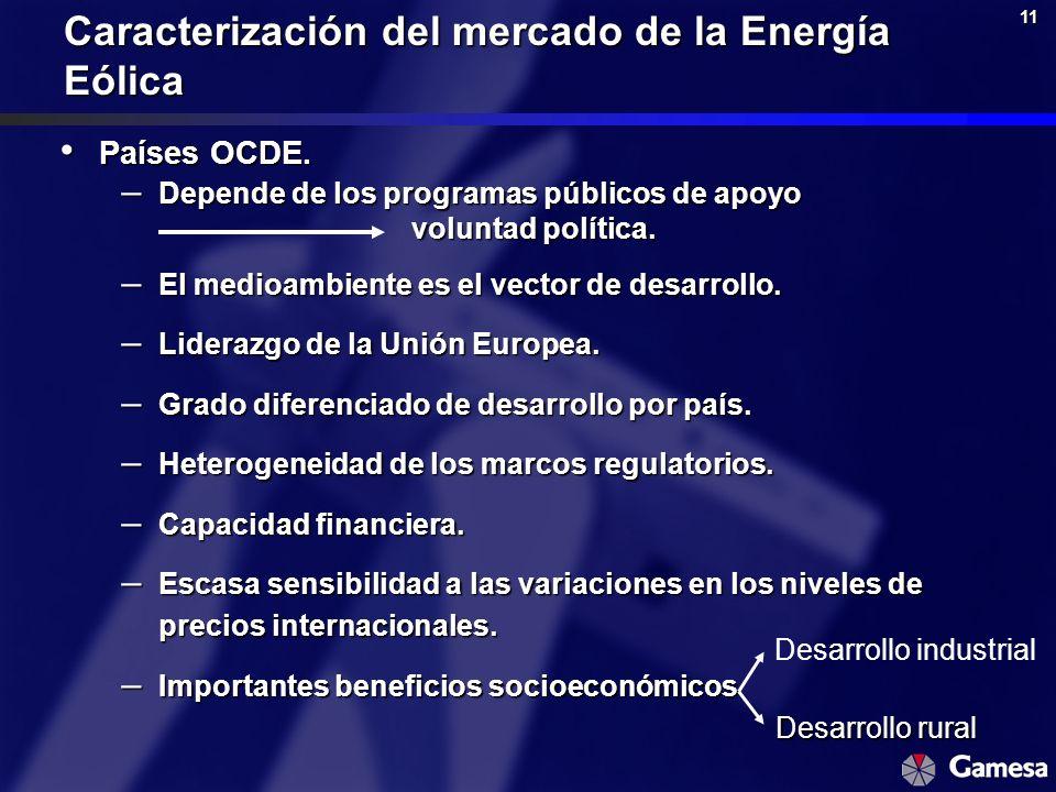 11 Caracterización del mercado de la Energía Eólica Países OCDE. Países OCDE. – Depende de los programas públicos de apoyo voluntad política. – El med