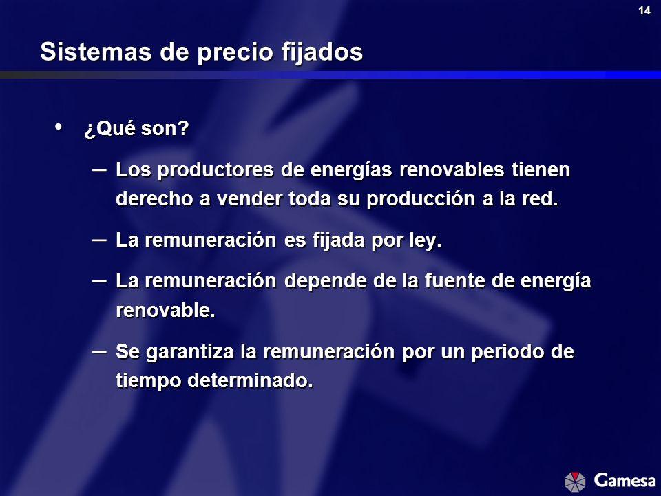14 Sistemas de precio fijados ¿Qué son? ¿Qué son? – Los productores de energías renovables tienen derecho a vender toda su producción a la red. – La r