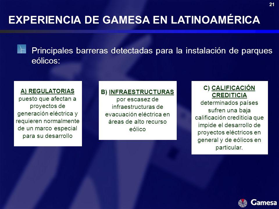 21 EXPERIENCIA DE GAMESA EN LATINOAMÉRICA Principales barreras detectadas para la instalación de parques eólicos: A) REGULATORIAS puesto que afectan a