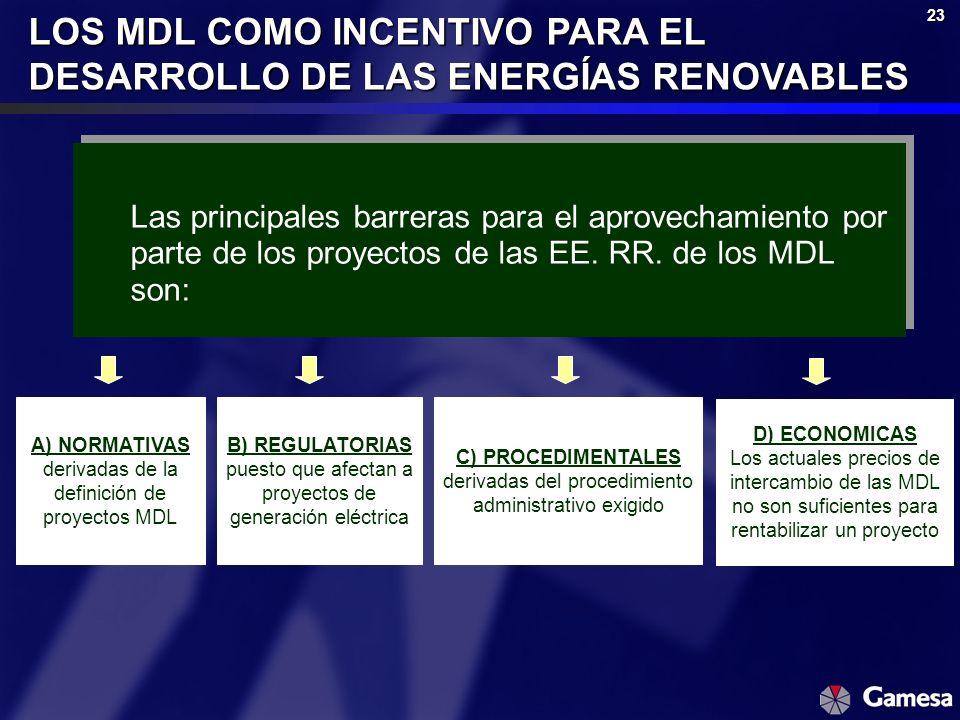 23 LOS MDL COMO INCENTIVO PARA EL DESARROLLO DE LAS ENERGÍAS RENOVABLES Las principales barreras para el aprovechamiento por parte de los proyectos de