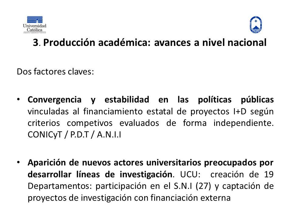3. Producción académica: avances a nivel nacional Dos factores claves: Convergencia y estabilidad en las políticas públicas vinculadas al financiamien