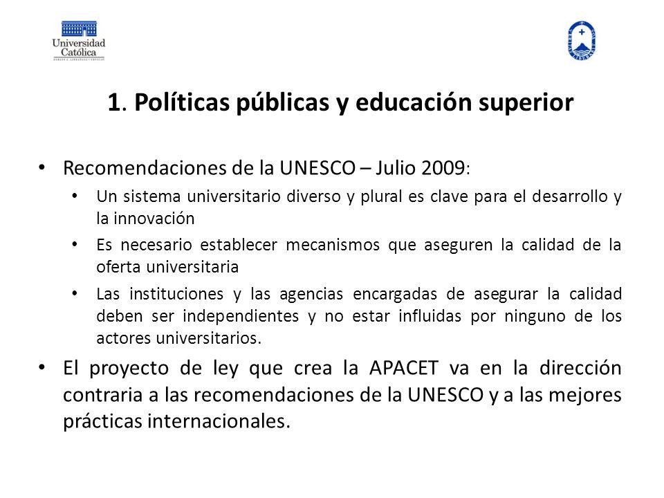 1. Políticas públicas y educación superior Recomendaciones de la UNESCO – Julio 2009 : Un sistema universitario diverso y plural es clave para el desa