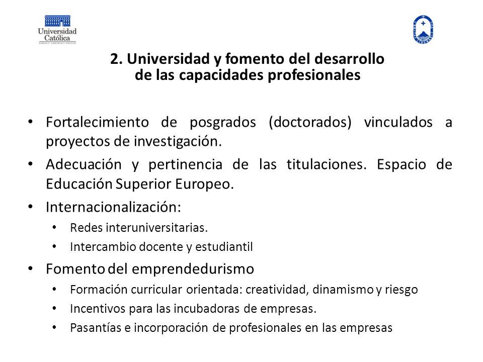 2. Universidad y fomento del desarrollo de las capacidades profesionales Fortalecimiento de posgrados (doctorados) vinculados a proyectos de investiga