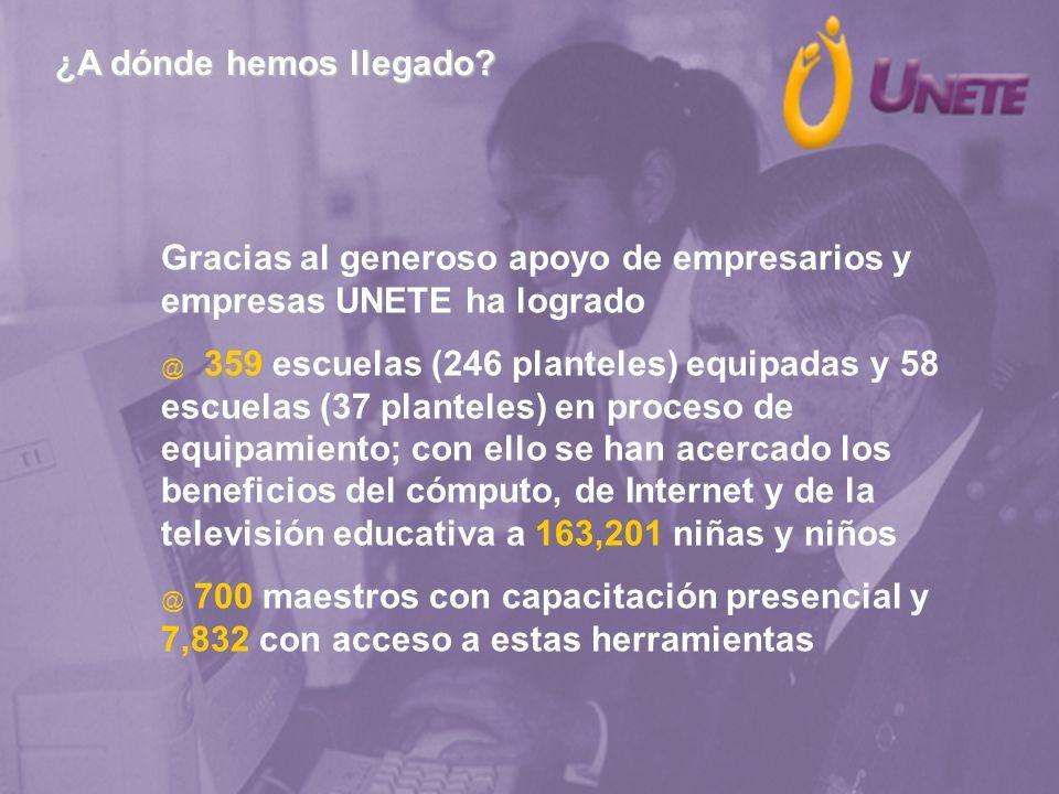 ¿A dónde hemos llegado? Gracias al generoso apoyo de empresarios y empresas UNETE ha logrado @ 359 escuelas (246 planteles) equipadas y 58 escuelas (3