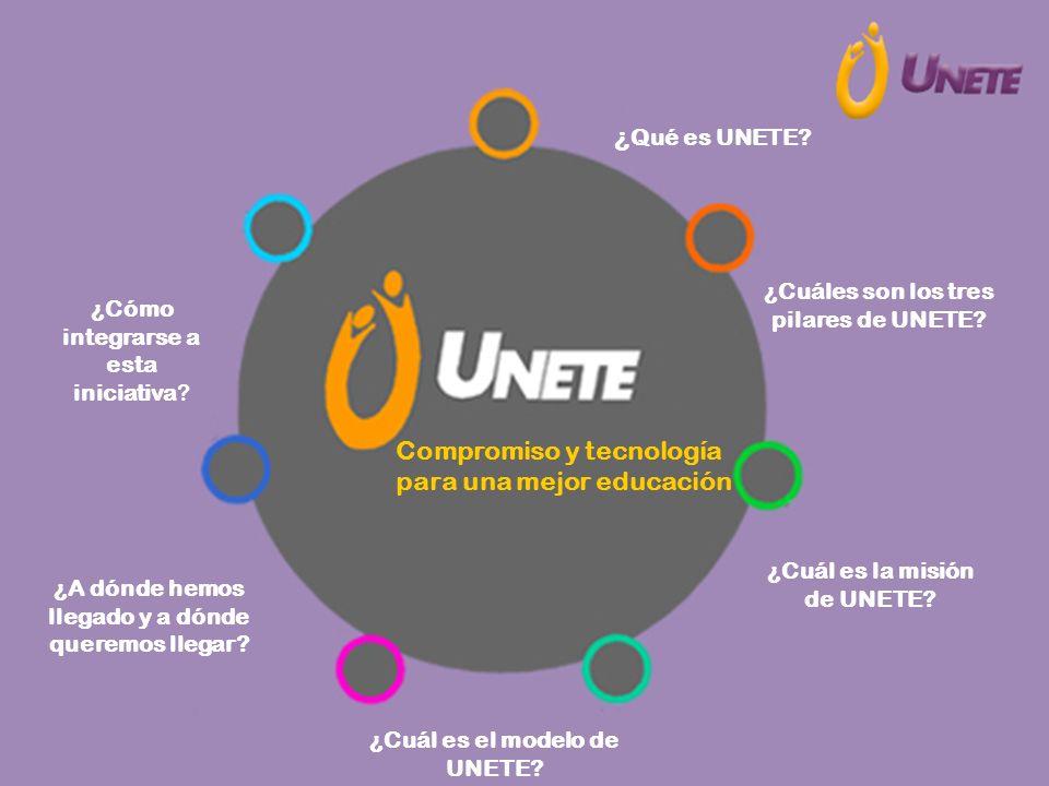 Compromiso y tecnología para una mejor educación ¿Cuáles son los tres pilares de UNETE? ¿Cuál es la misión de UNETE? ¿Cuál es el modelo de UNETE? ¿A d