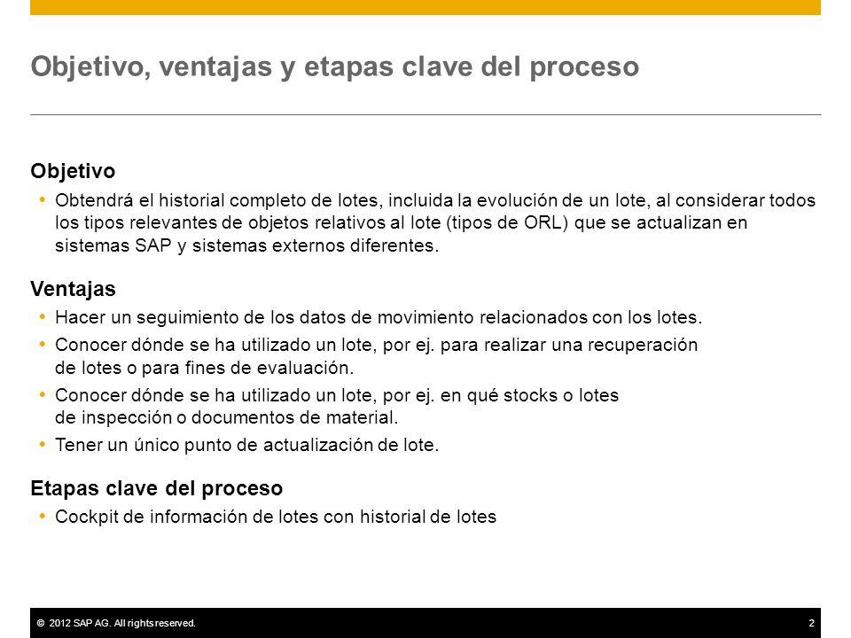 ©2012 SAP AG. All rights reserved.2 Objetivo, ventajas y etapas clave del proceso Objetivo Obtendrá el historial completo de lotes, incluida la evoluc