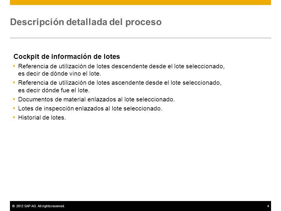 ©2012 SAP AG. All rights reserved.4 Descripción detallada del proceso Cockpit de información de lotes Referencia de utilización de lotes descendente d