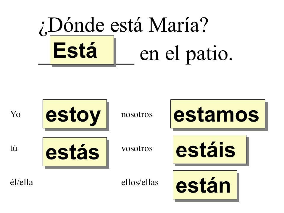 ¿Dónde está María. _________ en el patio.