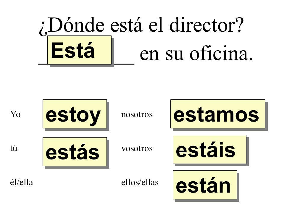¿Dónde está el director. _________ en su oficina.