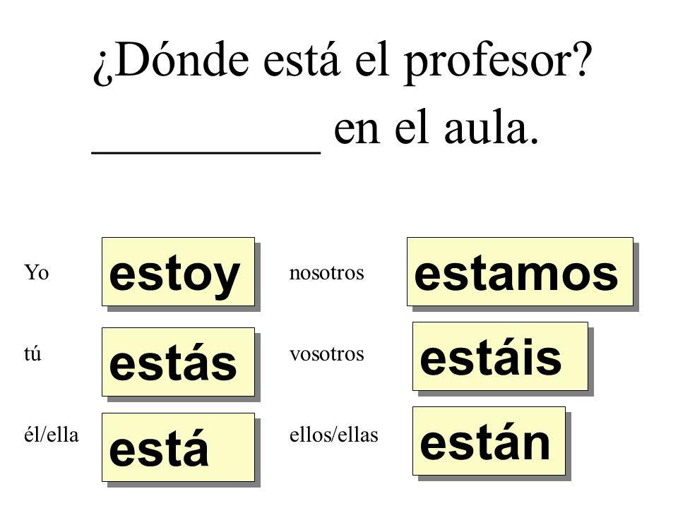 ¿Dónde está el profesor. _________ en el aula.