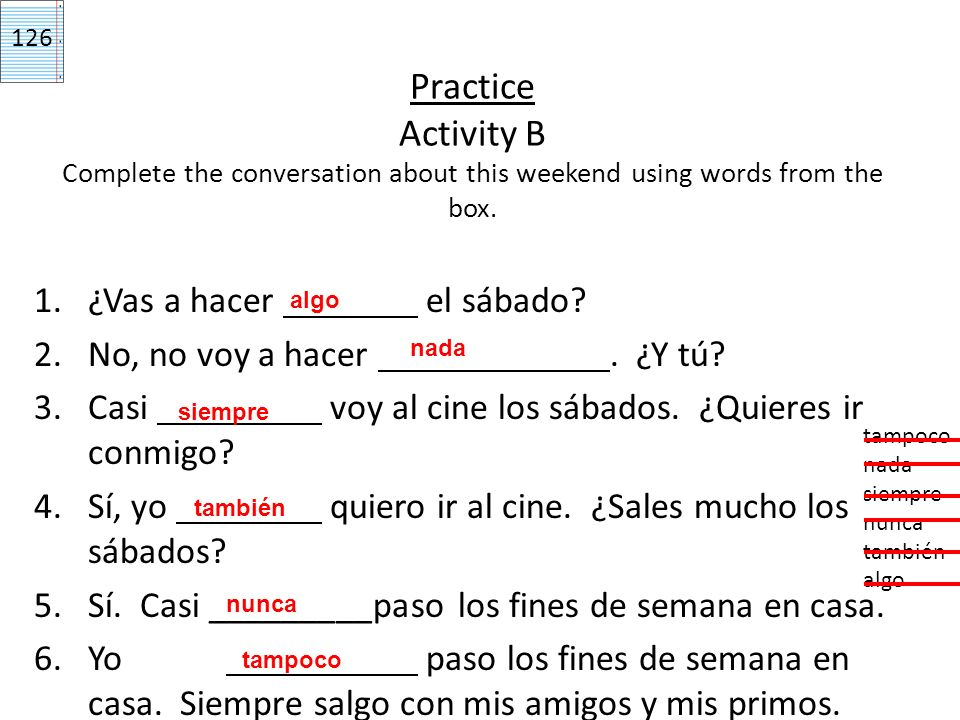 Practice Activity A Choose the correct option to complete each sentence.