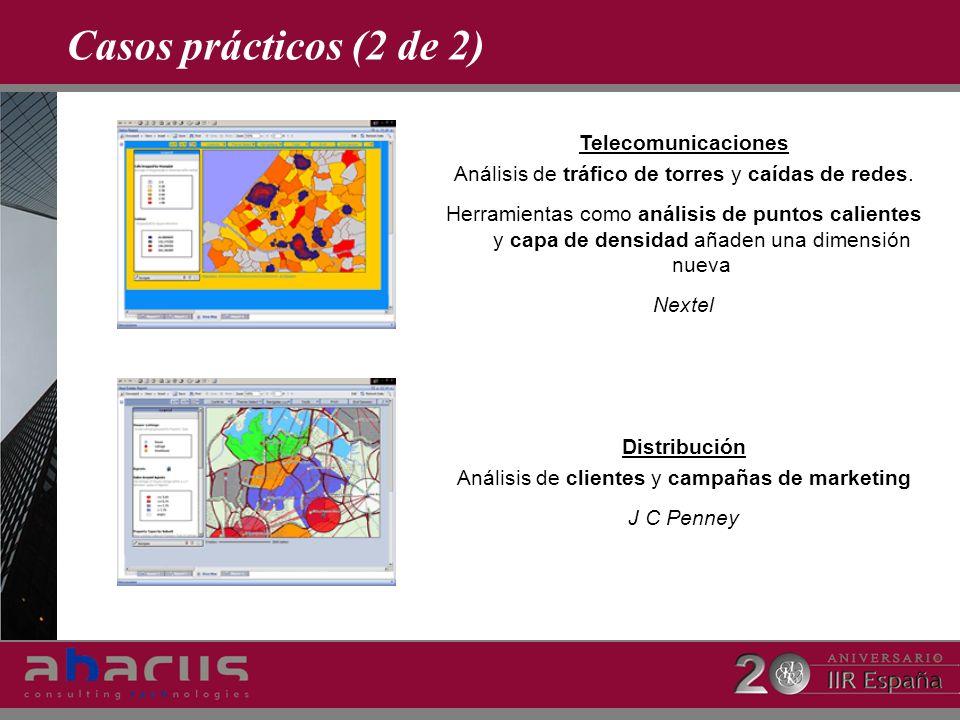 Casos prácticos (2 de 2) Telecomunicaciones Análisis de tráfico de torres y caídas de redes. Herramientas como análisis de puntos calientes y capa de
