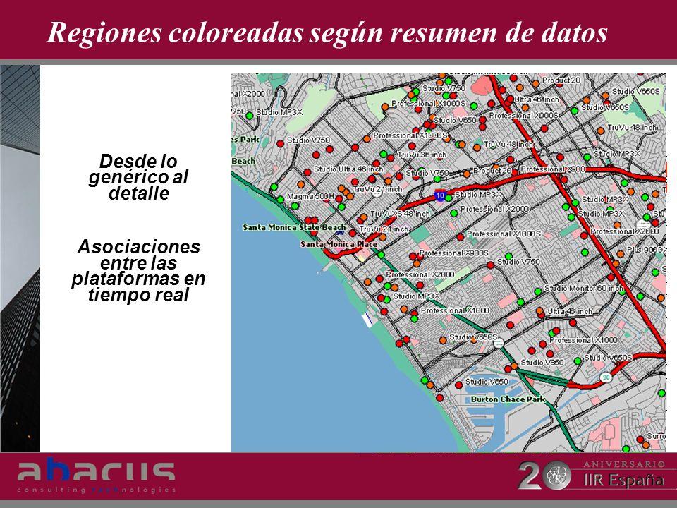 Regiones coloreadas según resumen de datos Desde lo genérico al detalle Asociaciones entre las plataformas en tiempo real