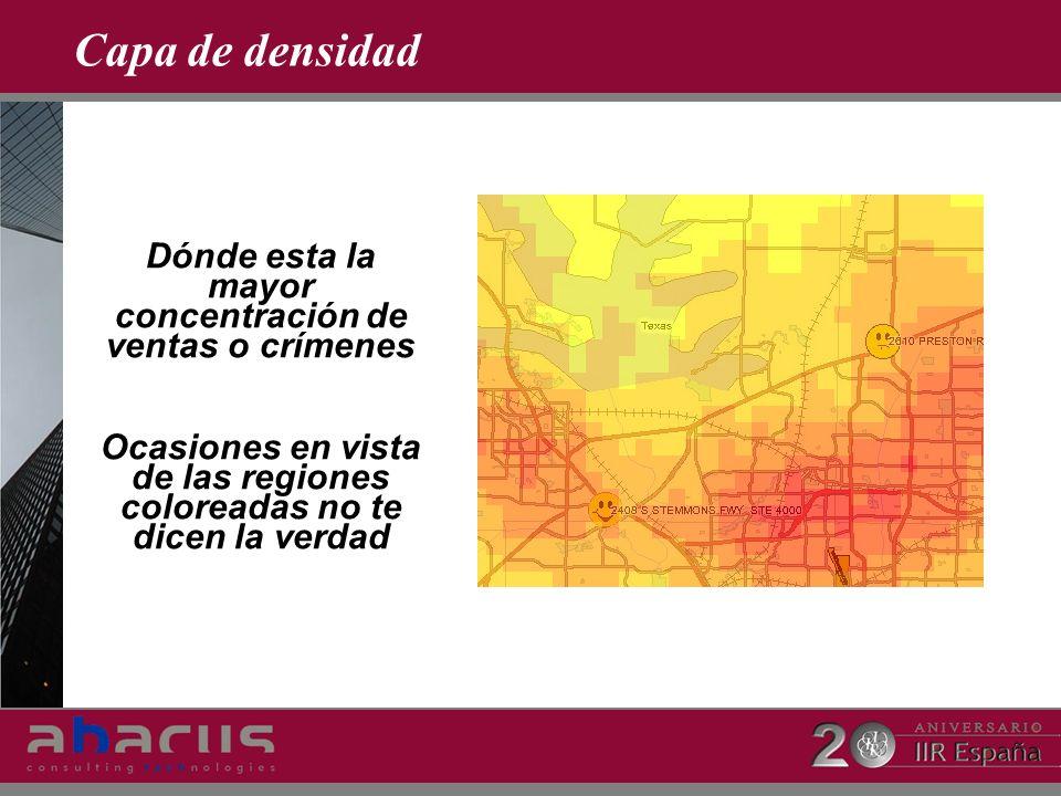Capa de densidad Dónde esta la mayor concentración de ventas o crímenes Ocasiones en vista de las regiones coloreadas no te dicen la verdad