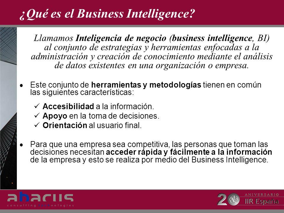¿Qué es el Business Intelligence? Llamamos Inteligencia de negocio (business intelligence, BI) al conjunto de estrategias y herramientas enfocadas a l