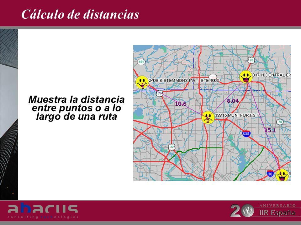 Cálculo de distancias Muestra la distancia entre puntos o a lo largo de una ruta