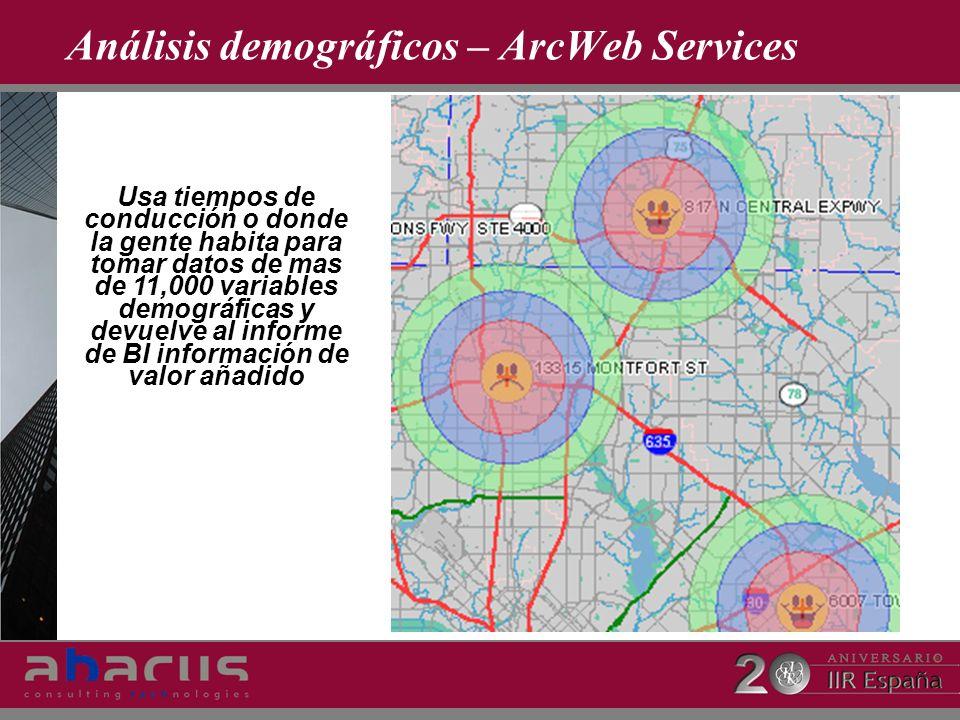 Análisis demográficos – ArcWeb Services Usa tiempos de conducción o donde la gente habita para tomar datos de mas de 11,000 variables demográficas y d